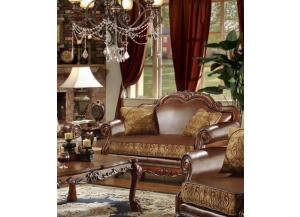 Dresden Brown Chenille/PU Leather Loveseat