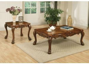 Dresden 2Pcs Brown Cherry Oak Finish Table Set 1 Coffee Table and 1 End Table