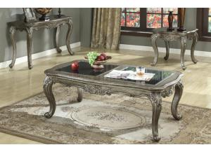 Chantelle 3Pcs Antique Platinum Table Set 1 Coffee Table, 1 End Table & 1 Sofa Table