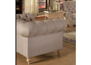 Shantoria Beige Linen Fabric Wood Loveseat