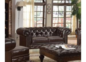 Shantoria Dark Brown Bonded Leather Wood Loveseat