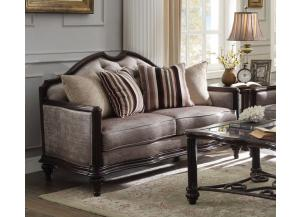 Azis Dark Walnut Fabric Loveseat