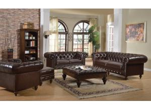 Shantoria 3Pcs Dark Brown Bonded Leather Wood Sofa Set 1 Sofa, 1 Loveseat and 1 Chair