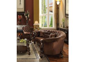 Versailles Brown Velvet Cherry Oak Finish Oval Sofa