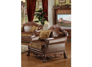 Dresden Brown Chenille/PU Leather Chair