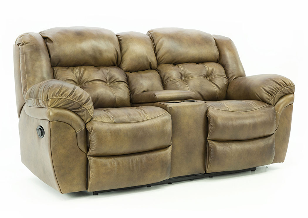HUDSON SADDLE LEATHER POWER RECLINING LOVESEAT WITH CONSOLE,HOMESTRETCH