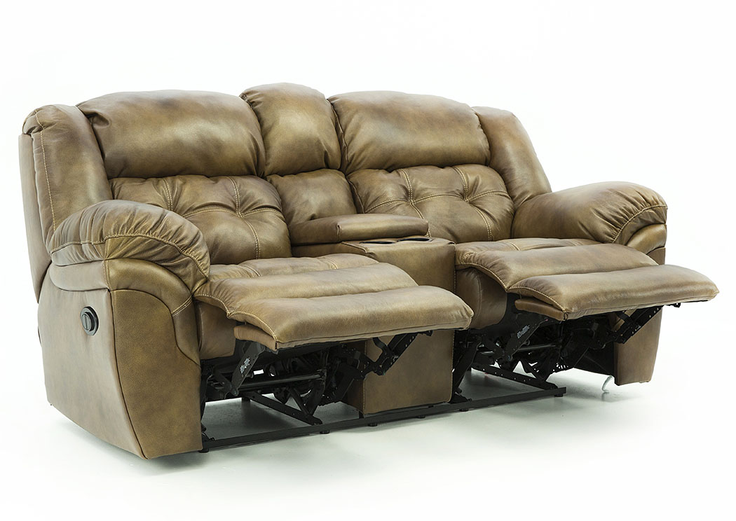 HUDSON SADDLE LEATHER POWER RECLINING LOVESEAT WITH CONSOLE,HOME STRETCH
