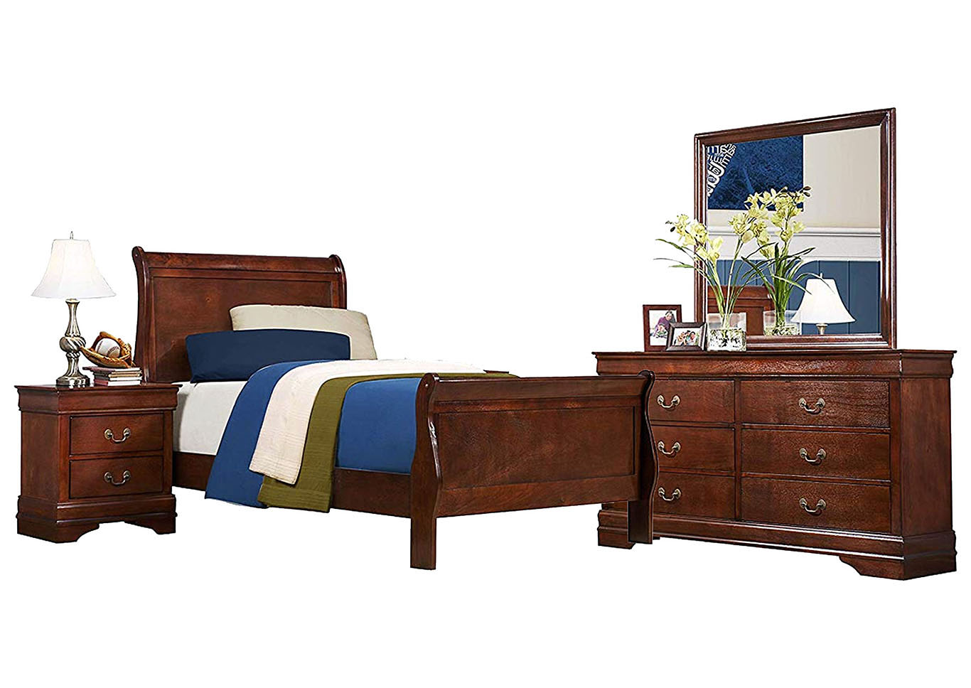 LOUIS PHILIP CHERRY TWIN BEDROOM SET,CROWN MARK INT.