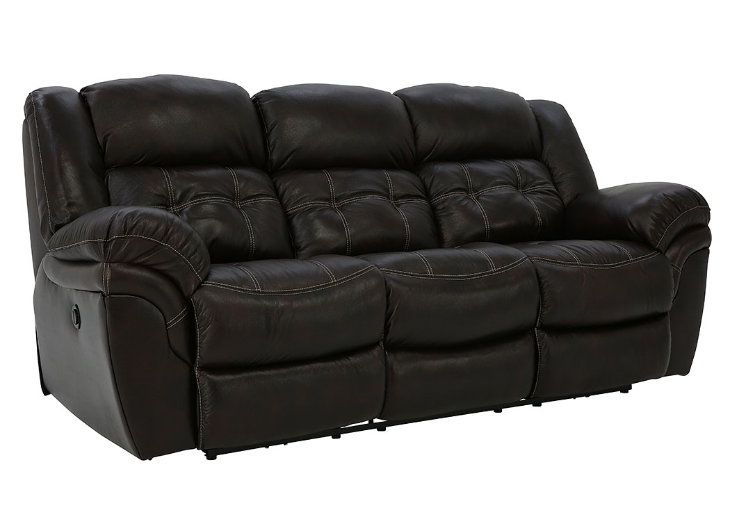 HUDSON CHOCOLATE LEATHER POWER RECLINING SOFA,HOME STRETCH