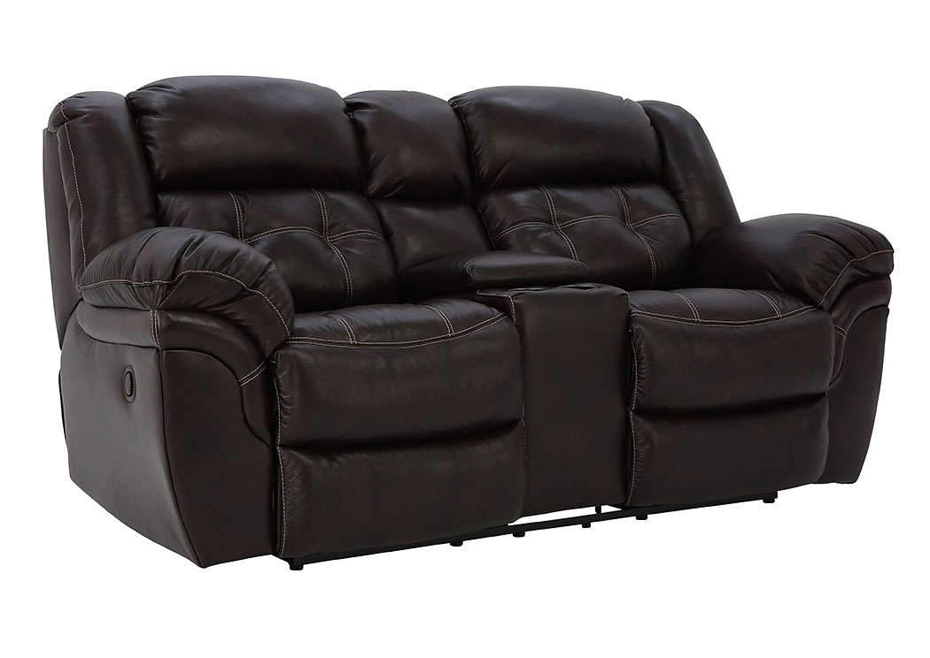 HUDSON CHOCOLATE LEATHER RECLINING LOVESEAT WITH CONSOLE,HOME STRETCH