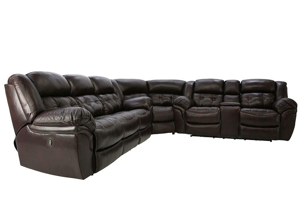 HUDSON CHOCOLATE 3 PIECE LEATHER SECTIONAL ,HOME STRETCH