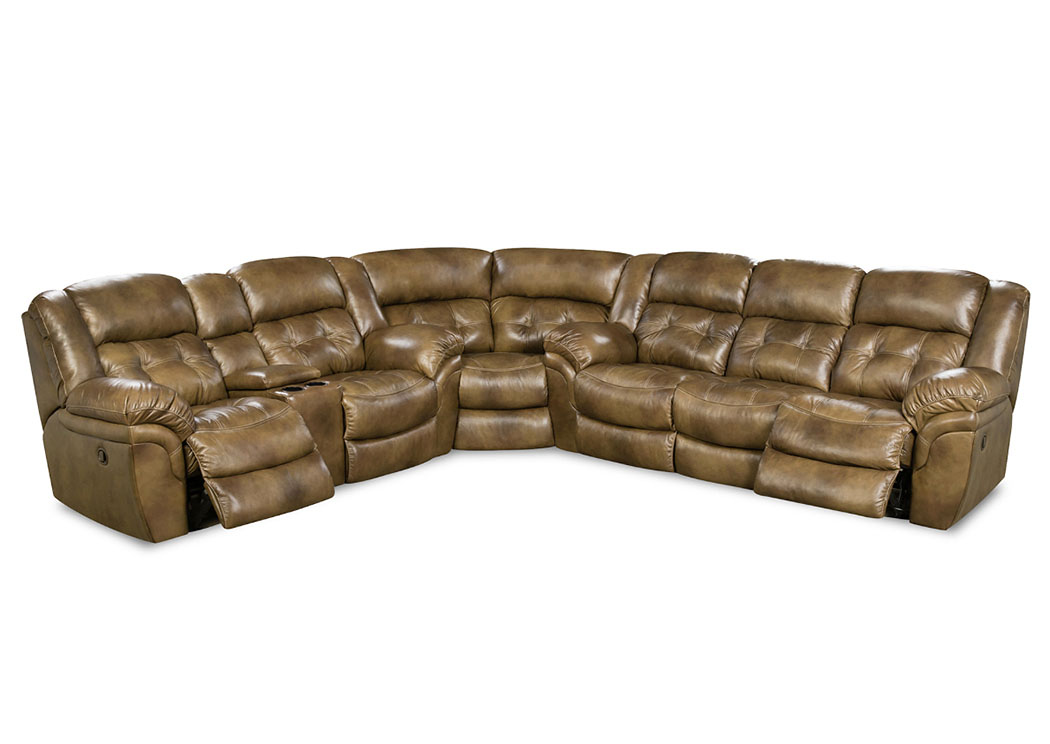 HUDSON SADDLE 3 PIECE POWER LEATHER SECTIONAL ,HOMESTRETCH