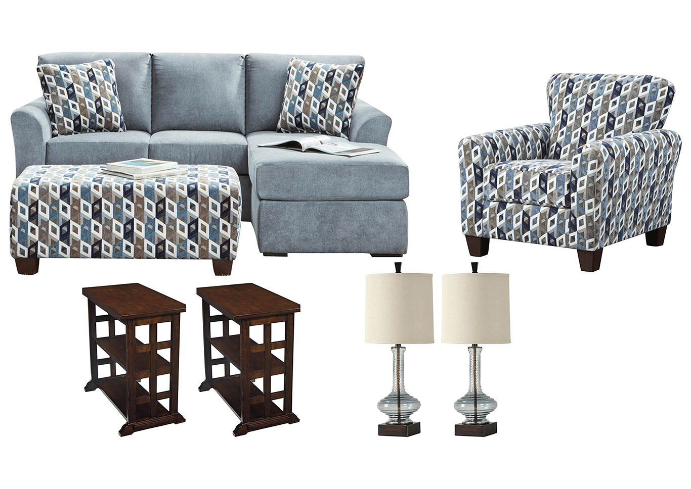 ANNA BLUE LIVING ROOM SET,AFFORDABLE FURNITURE