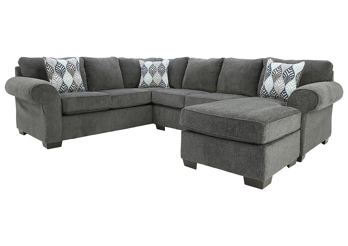 CHARISMA SMOKE 3 PIECE SECTIONAL,AFFORDABLE FURNITURE
