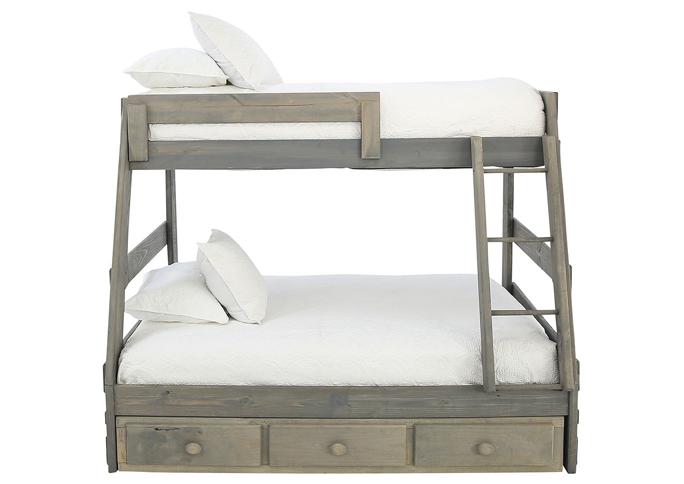 Ivan Smith Sawyer Driftwood Twin Over Full Bunkbed With Storage And