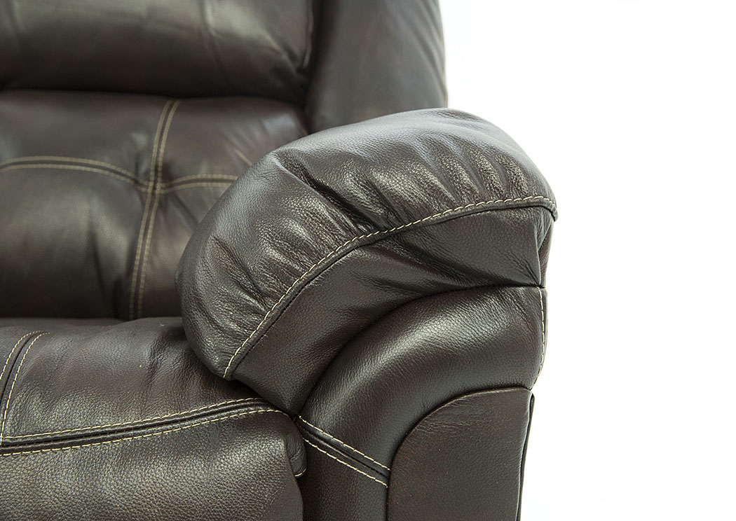 HUDSON CHOCOLATE LEATHER ROCKER RECLINER,HOME STRETCH
