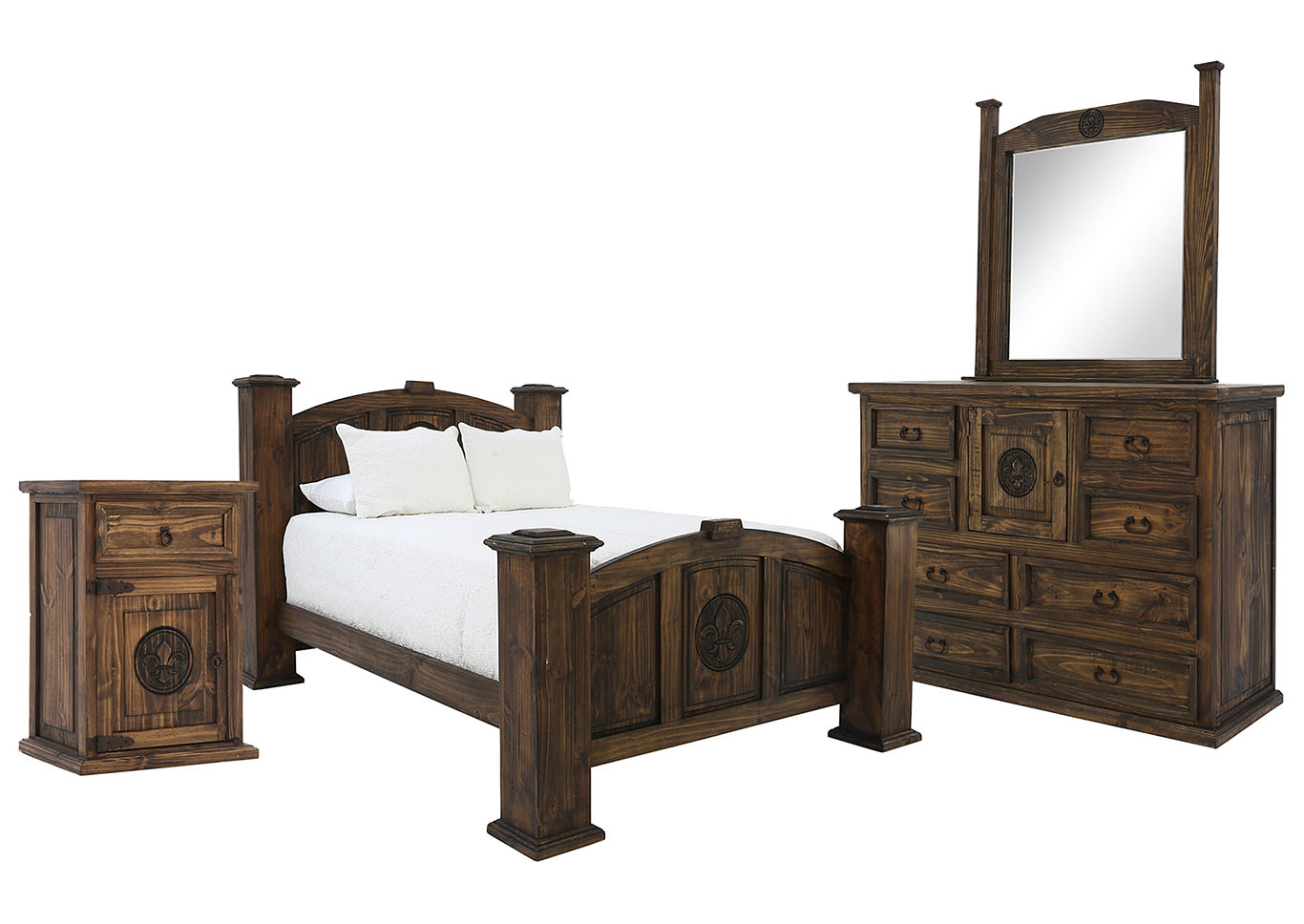Ivan Smith CASA ANTIQUE WITH FLEUR DE LIS KING BEDROOM SET