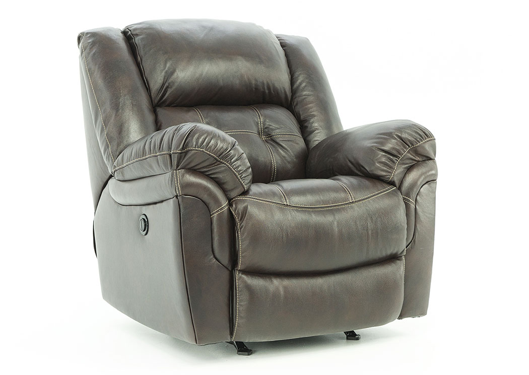 HUDSON CHOCOLATE LEATHER POWER RECLINER,HOME STRETCH