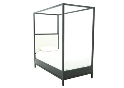 INDUSTRIAL IVORY/KETTLE TWIN CANOPY BED