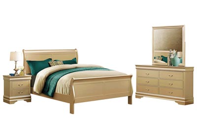 LOUIS PHILIP CHAMPAGNE KING BEDROOM SET