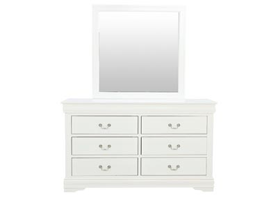 LOUIS PHILIP WHITE DRESSER AND MIRROR