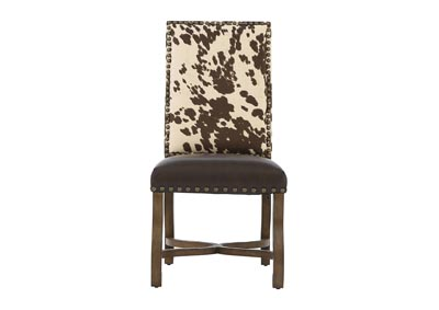 MESQUITE RANCH LEATHER/FAUX COWHIDE SIDE CHAIR