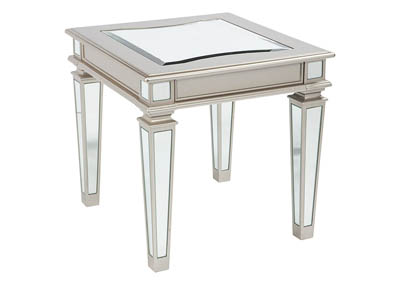 Image for TESSANI SILVER MIRRORED END TABLE