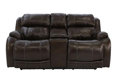 WESLEY WALNUT LEATHER POWER RECLINING LOVESEAT