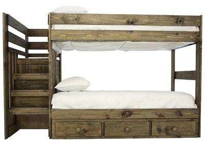 Image for SILAS MOSSY OAK TWIN/TWIN STAIR BUNKBED WITH STORAGE