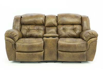 HUDSON SADDLE LEATHER POWER RECLINING LOVESEAT WITH CONSOLE