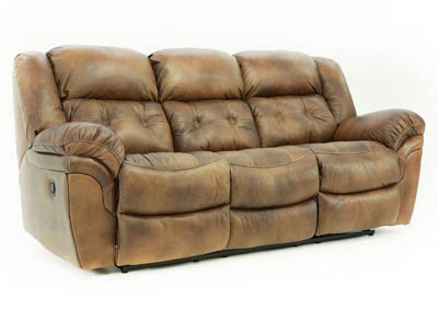 HUDSON SADDLE LEATHER RECLINING SOFA,HOME STRETCH