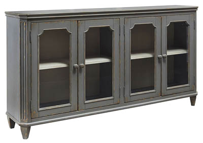 MIRIMYN ANTIQUE GRAY GLASS DOOR ACCENT CABINET