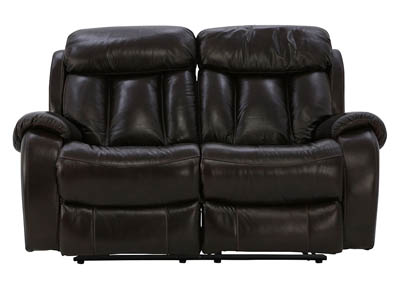 DALLIS ESPRESSO RECLINING LEATHER LOVESEAT