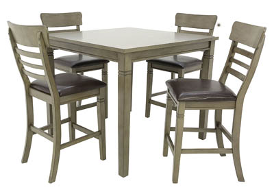 BLAINE GREY 5 PIECE PUB DINING SET,LIFESTYLE FURNITURE