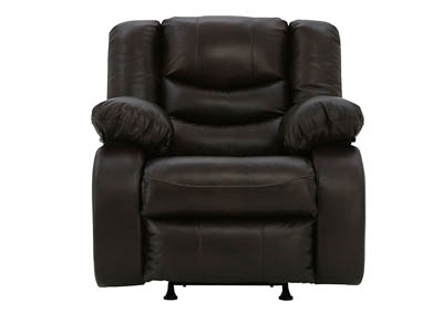 NEVERFIELD CHOCOLATE LEATHER/LEATHER MATCH ROCKER RECLINER