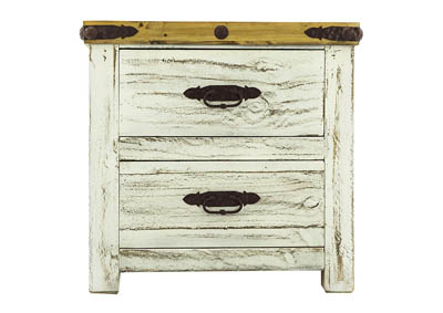SCRAPED WHITE NIGHTSTAND