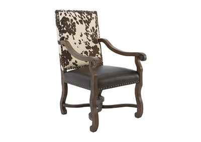 MESQUITE RANCH LEATHER/FAUX COWHIDE ARMCHAIR,CRESTVIEW COLLECTION