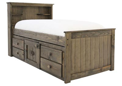 SILAS MOSSY OAK TWIN BOOKCASE CAPTAIN'S BED WITH BUNKIE BOARD