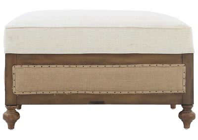 FOUNDATION IVORY WITH BURLAP OTTOMAN