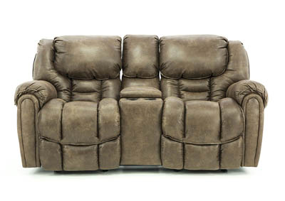 BAXTER MOCHA RECLINING LOVESEAT WITH CONSOLE