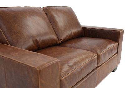 CHARLEY CHOCOLATE LEATHER LOVESEAT,NEWS SRL