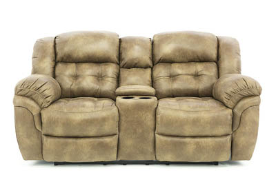 HAYGEN ALMOND RECLINING LOVESEAT WITH CONSOLE