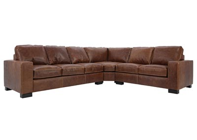 Image for CHARLEY CHOCOLATE LEATHER 3 PIECE SECTIONAL
