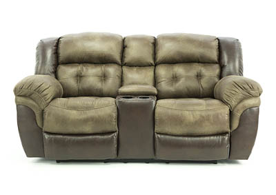 LOGAN TAUPE RECLINING LOVESEAT WITH CONSOLE