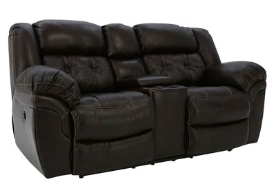 HUDSON CHOCOLATE LEATHER POWER RECLINING LOVESEAT WITH CONSOLE