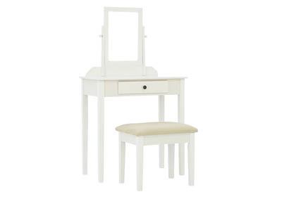 IRIS WHITE VANITY AND STOOL