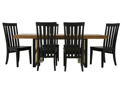 MODERN BENCH/CHIMNEY 7PC DINING SET