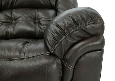 HUDSON CHOCOLATE LEATHER RECLINING SOFA,HOME STRETCH