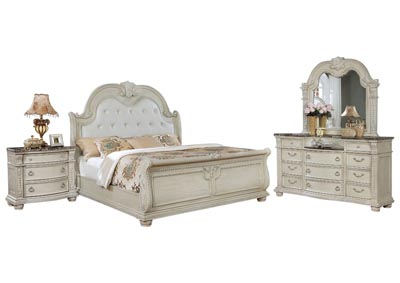 Ivan Smith STANLEY ANTIQUE WHITE QUEEN BEDROOM SET
