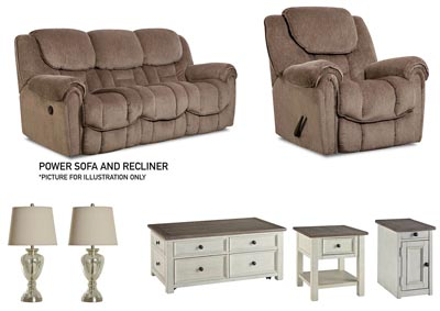 BAXTER TAUPE POWER LIVING ROOM SET